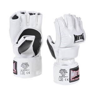 Gants Free Fight MMA - Blanc brillant